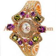 นาฬิกาข้อมือสุดหรูประดับคริสตัลชวารอฟสกี้ (Swarovski Crytral)ทรงกลมสีขาว และ ทรงวงรีหลากสี ตัวเรือนสีทอง (Gold